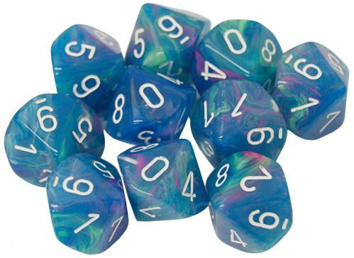 Chessex Dice Sets: Menagerie #10 - Festive Waterlily w/white d10 Set (10)