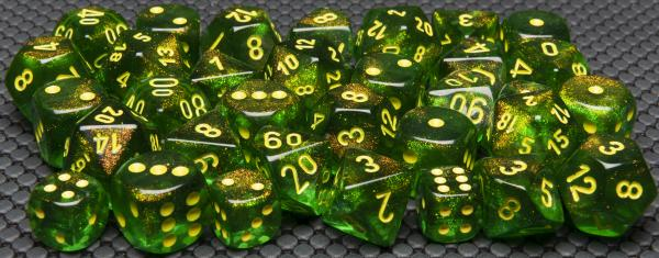 Chessex Dice Sets: Menagerie #10 - Borealis Maple Green/yellow 16mm d6 Dice Block (12)