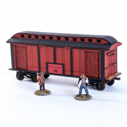 28mm Dead Mans Hand: 19th C. American Baggage Car (Red)