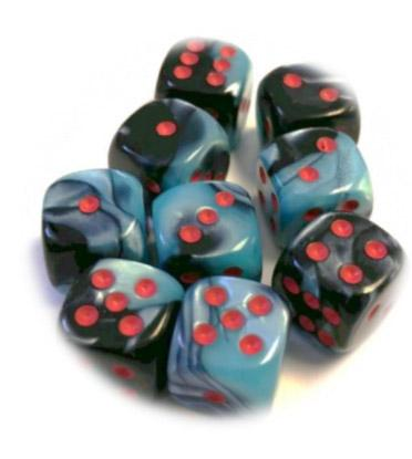 Chessex Dice Sets: Limited Edition Gemini # 5 12mm d6 Black-Shell/Red (36)