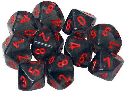 Dice Sets: Smoke w/red numbers Translucent d10 Set (10)