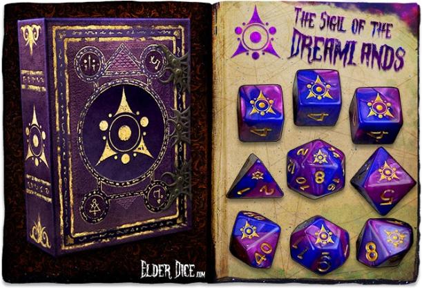 Elder Dice Set: Sigil of the Dreamlands 9-dice set (Blue/Purple)