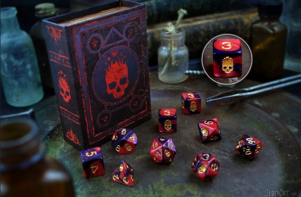 Elder Dice Set: Mark of the Necronomicon Red and Inky Black Polyhedral 9-die Set