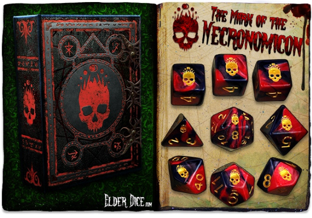 Elder Dice Set: Mark of the Necronomicon 9-dice set (Red/Black)