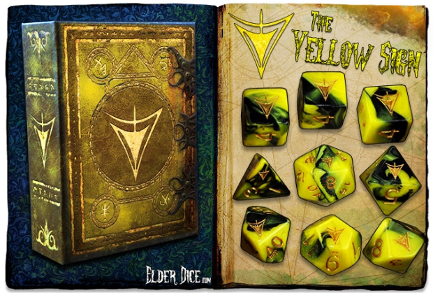 Elder Dice Set: The Yellow Sign 9-dice set (Yellow/Green)