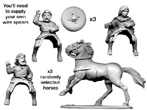 28mm Historical: Dark Ages - Mounted Scots Warriors (3 horses/riders)