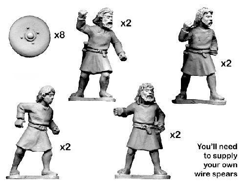 28mm Historical: Dark Ages - Unarmoured Scot Warriors (8)