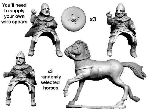 28mm Historical: Dark Ages - Mounted Scots Thanes (3 horses/riders)