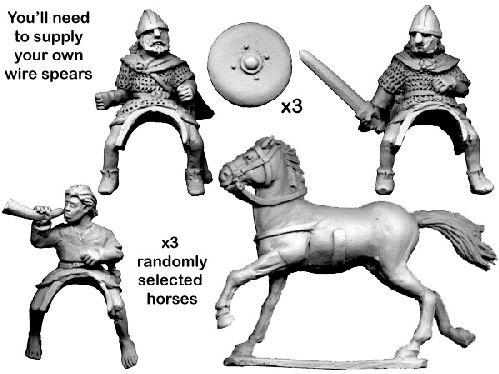 28mm Historical: Dark Ages - Mounted Scots Command Group (3 horses/riders)