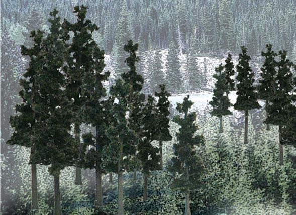 Woodland Scenics: Tree Kits - Conifer Colors (12/pkg - 6'' - 8'')