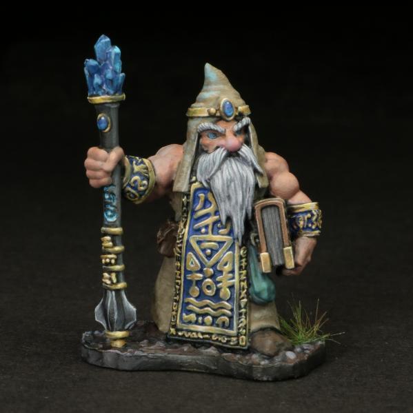 Tomb Guardians 28mm Miniatures: Dwarven Wizard - Alforrek Amberglow