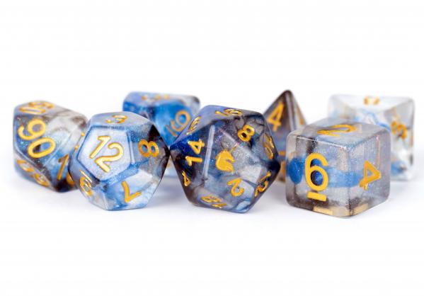 Metallic Dice: Unicorn RESIN Polyhedral Dice Set - Arctic Storm (7)