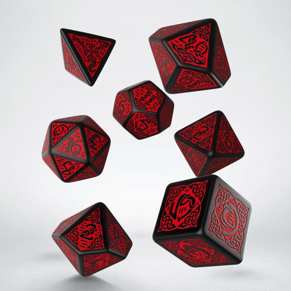 Celtic Dice: Black & Red Dice Set (7)