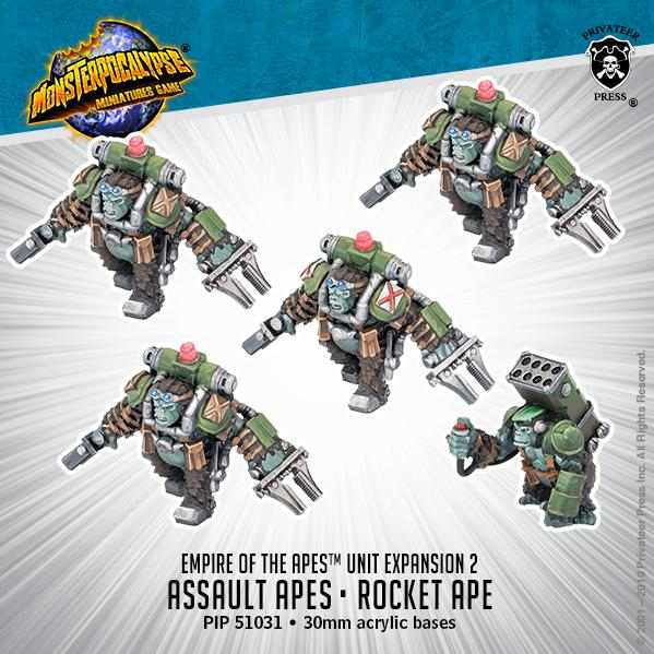 Monsterpocalypse: Assault Apes & Rocket Ape: Empire of the Apes Units (metal)