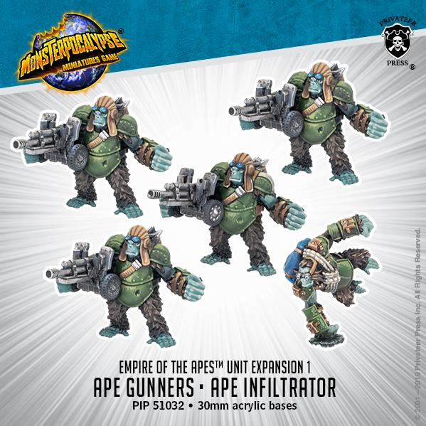Monsterpocalypse: Ape Gunners & Ape Infiltrator: Empire of the Apes Units (metal)