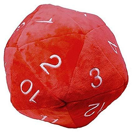 Novelty Dice: Plush Jumbo D20 in Red with White Numbering