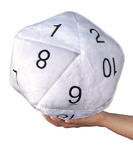 Novelty Dice: Plush Jumbo D20 in White with Black Numbering