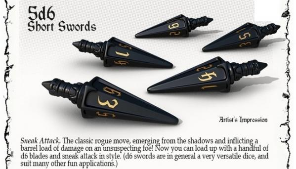 PolyHero Dice: Rogue Set - Short Swords d6 (5)
