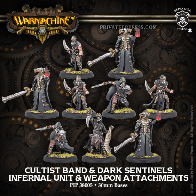Hordes: (Infernals) Cultist Band & Dark Sentinels – Infernal Unit & Weapon Attachments (9) (metal)