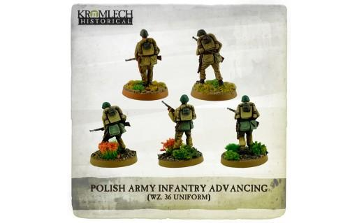 Kromlech Miniatures: Polish Army Infantry (wz. 36 uniforms) advancing with rifles (5)