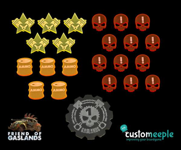 Gaslands: (Accessory) GASLANDS COMPATIBLE TOKEN SET (23 Units)