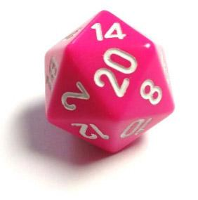 Chessex Dice Sets: Opaque 34mm Pink/white d20