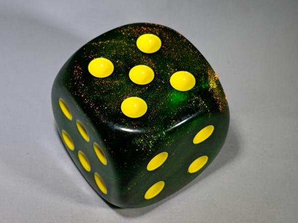 Chessex Dice Sets: Borealis™ 50mm w/pips Maple Green/yellow d6