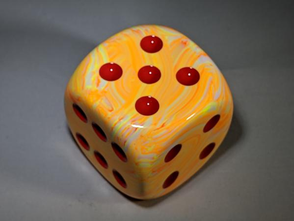 Chessex Dice Sets: Festive™ 50mm d6 w/pips Sunburst™ w/red