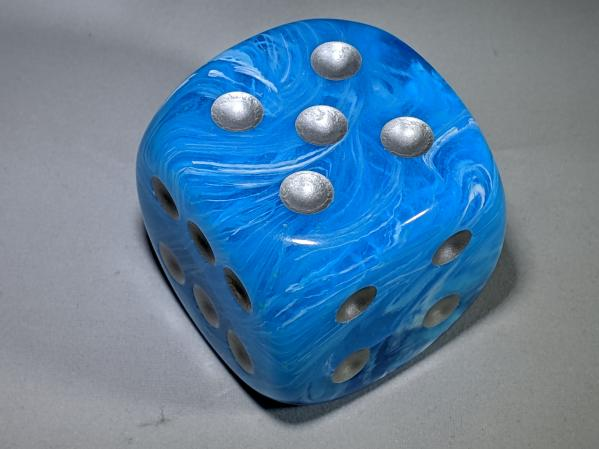 Chessex Dice Sets: Luminary™ Sky/silver 50mm w/pips d6