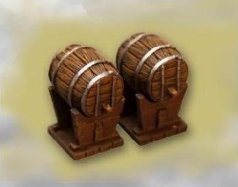 28mm Terrain: Beer Barrel with Trump Stand, (2 pcs.)
