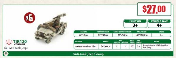 Flames of War: Team Yankee - Anti-tank Jeep Group (x6)