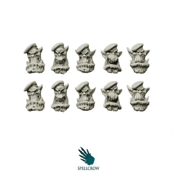 28mm Fantasy - Orcs: Bulky Orcs Green Berets Heads