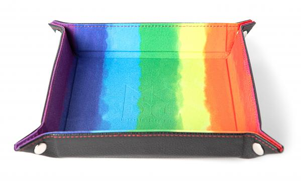 Velvet Folding Dice Tray: 10''x10'' Watercolor Rainbow with Leather Backing