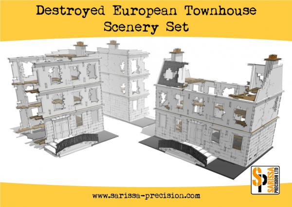 Bolt Action, 2nd Edition: Destroyed European Townhouse Scenery Set