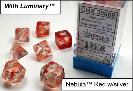 Chessex Lab Dice: Nebula™ Red/silver Luminary 7-Die Set [Limited/Allocated]