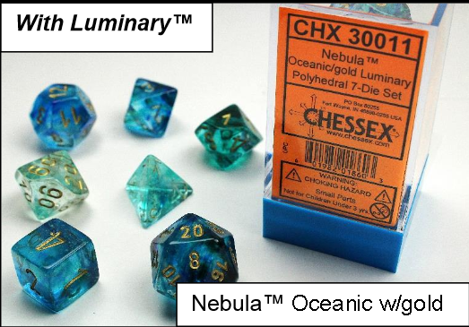 Chessex Lab Dice: Nebula™ Oceanic/Gold Luminary 7-Die Set [Limited/Allocated]