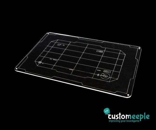 X-Wing 2.0: Xwing compatible Feldherr tray (black acrylic, for acrylic tokens)