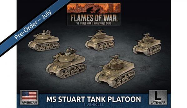 Flames Of War (WWII): (USA) M5 Stuart Light Tank Platoon (x5 Plastic)