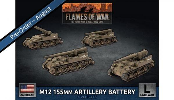 Flames Of War (WWII): (USA) M12 155mm Artillery Battery (x4)
