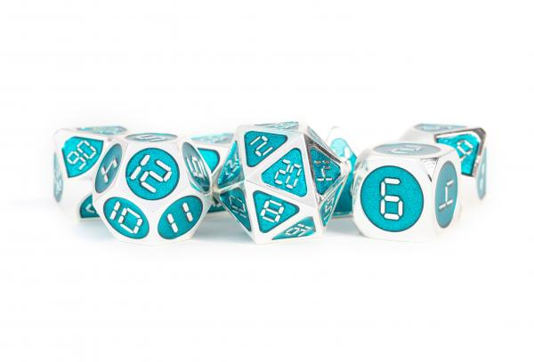 Digital Enamel Metal Dice Set: 16mm Silver with Teal Enamel