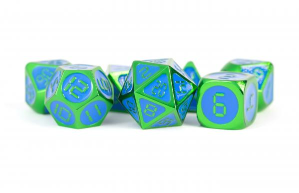 Digital Enamel Metal Dice Set: 16mm Green with Blue Enamel