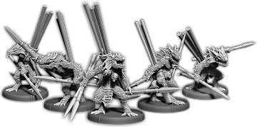 Darklands: Gukk's Javelins, Sávrakontar Unit (5x warriors w/cmd) (resin)