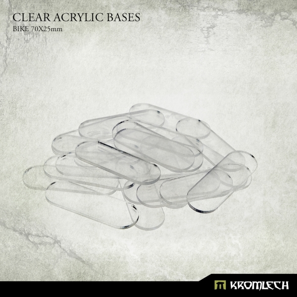 Accessories: Clear Plexi Bases Bike 70x25mm (20)