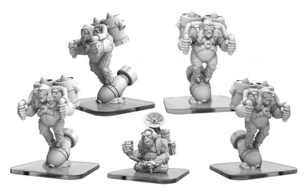 Monsterpocalypse: Ape Bombers, Elite Ape Bomber, Command Ape - Empire of the Apes Units (metal)