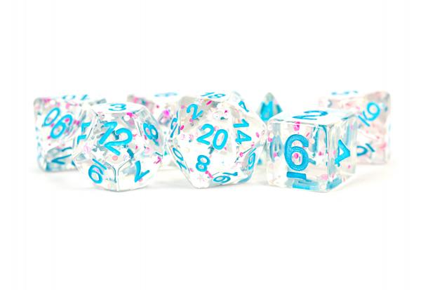 Polyhedral Dice Set: (Resin) Clear Confetti (7 die set)