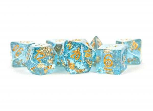 Polyhedral Dice Set: (Resin) Blue with Gold Foil (7 die set)