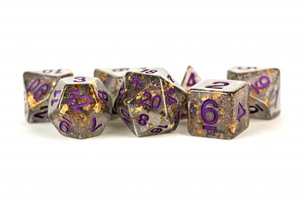 Polyhedral Dice Set: (Resin) Grey with Gold Foil, Purple Numbers (7 die set)