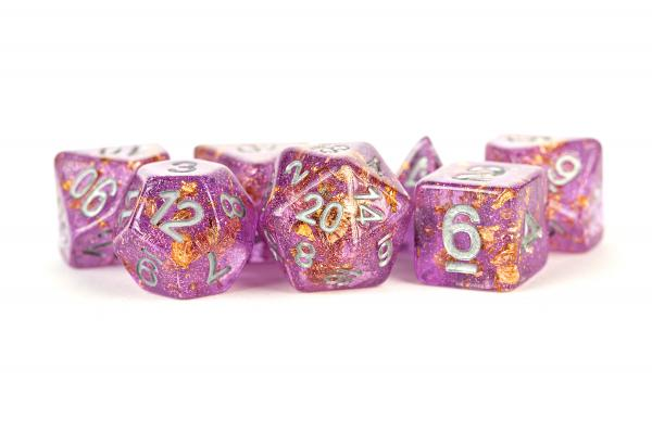 Polyhedral Dice Set: (Resin) Purple with Gold Foil (7 die set)