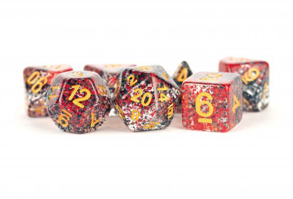 Polyhedral Dice Set: (Resin) Particle Dice Red/Black (7 die set)