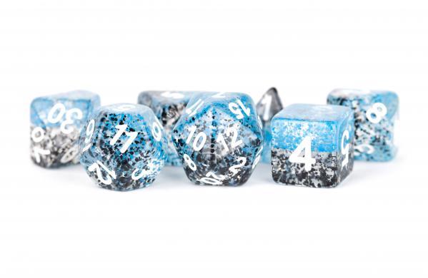 Polyhedral Dice Set: (Resin) Particle Dice Blue/Black (7 die set)